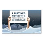 Anchorage AK Record Snow Sticker (Rectangle)