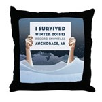 Anchorage AK Record Snow Throw Pillow