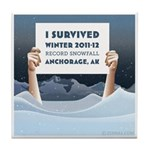 Anchorage AK Record Snow Tile Coaster