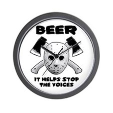Beer Helps Stop The Voices Wall Clock