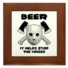 Beer Helps Stop The Voices Framed Tile