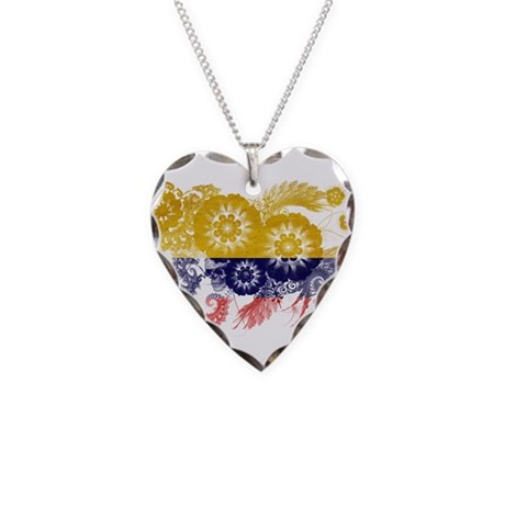 Colombia Flag Necklace Heart Charm