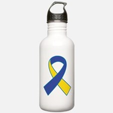 Yellow and Blue Ribbon Water Bottle