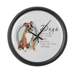 Dogs Make Lives Whole -Boxer Large Wall Clock