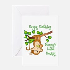 Mommy's lil monkey birthday Greeting Card