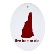 RED Live Free or Die Ornament (Oval)
