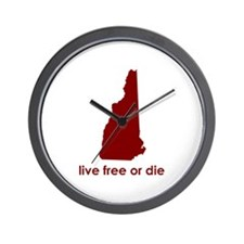 RED Live Free or Die Wall Clock