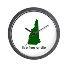 GREEN Live Free or Die Wall Clock