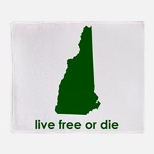 GREEN Live Free or Die Throw Blanket