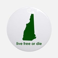 GREEN Live Free or Die Ornament (Round)