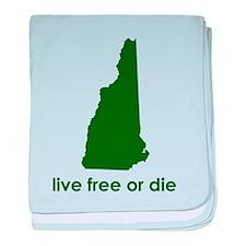 GREEN Live Free or Die baby blanket
