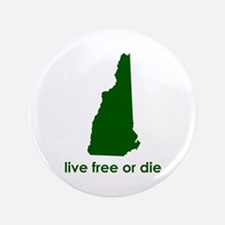 "GREEN Live Free or Die 3.5"" Button"