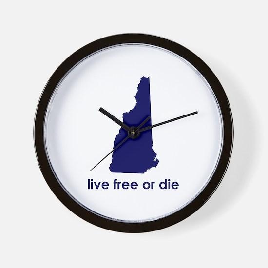 BLUE Live Free or Die Wall Clock