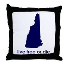 BLUE Live Free or Die Throw Pillow
