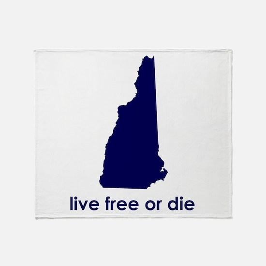 BLUE Live Free or Die Throw Blanket