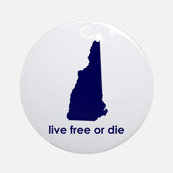BLUE Live Free or Die Ornament (Round)