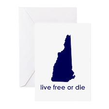 BLUE Live Free or Die Greeting Cards (Pk of 10)
