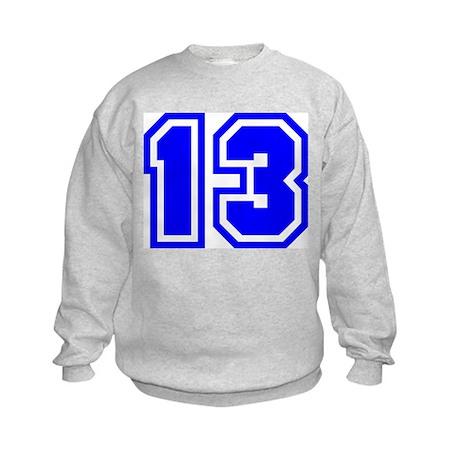 Varsity Uniform Number 13 (Blue) Kids Sweatshirt