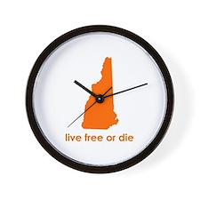 ORANGE Live Free or Die Wall Clock