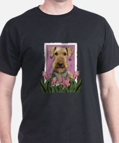 Mothers Day Pink Tulips Airedale T-Shirt