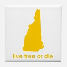 YELLOW Live Free or Die Tile Coaster