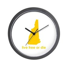 YELLOW Live Free or Die Wall Clock