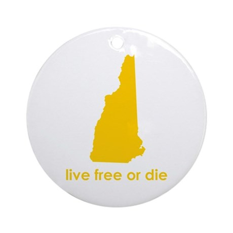YELLOW Live Free or Die Ornament (Round)