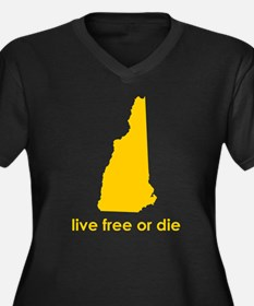 YELLOW Live Free or Die Women's Plus Size V-Neck D