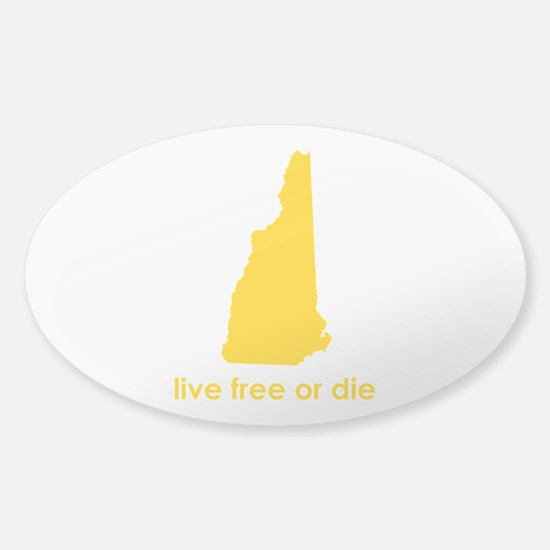 YELLOW Live Free or Die Sticker (Oval)