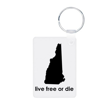BLACK Live Free or Die Aluminum Photo Keychain