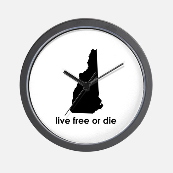 BLACK Live Free or Die Wall Clock