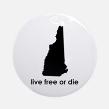 BLACK Live Free or Die Ornament (Round)