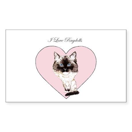 I Love Ragdolls Sticker (Rectangle)