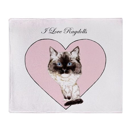 I Love Ragdolls Throw Blanket