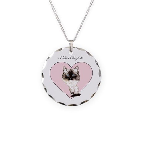 I Love Ragdolls Necklace Circle Charm