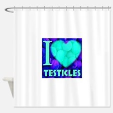 I (Heart) Testicles Shower Curtain