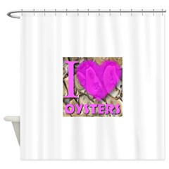 I (Heart) Oysters Shower Curtain