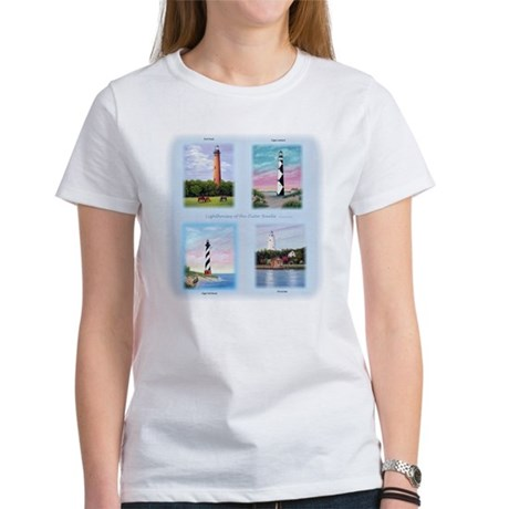 Lighthouses Outer Banks Tall Women 39 S Classic White T Shirt