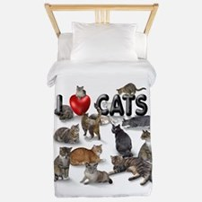 "Twin Duvet ""I love Cats"""