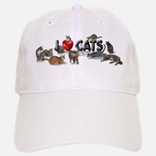 "Baseball Baseball Cap ""I love Cats"""