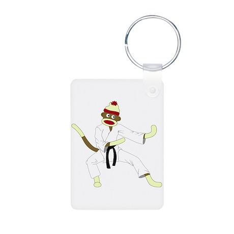 Sock Monkey Karate Aluminum Photo Keychain