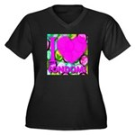 I (Heart) Condoms Women's Plus Size V-Neck Dark T-