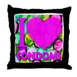 I (Heart) Condoms Throw Pillow