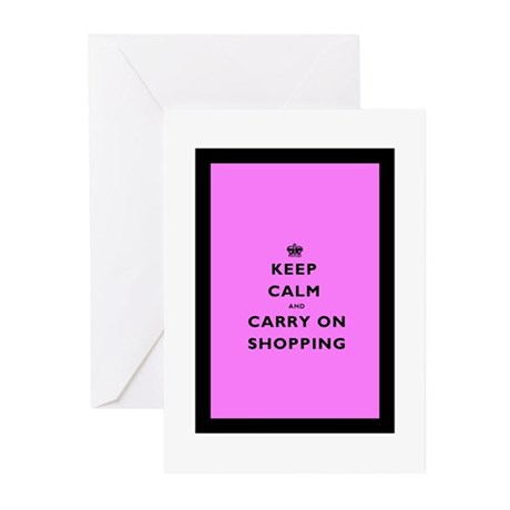 Keep Calm CARRY ON SHOPPING Greeting Cards (Pk of