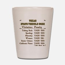 Texas Vehicle Code Shot Glass