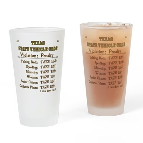 Texas Vehicle Code Drinking Glass