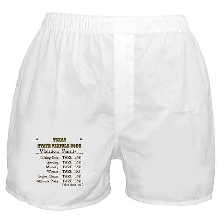 Texas Vehicle Code Boxer Shorts