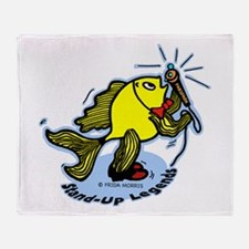Stand-Up Fish funny comic car Throw Blanket