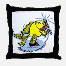 Stand-Up Fish funny comic car Throw Pillow