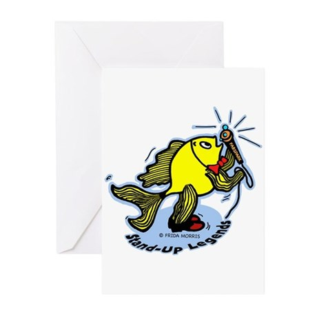 Stand-Up Fish funny comic car Greeting Cards (Pk o